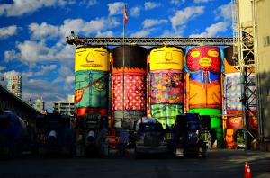 Concrete silos undergoing a colourful transformation